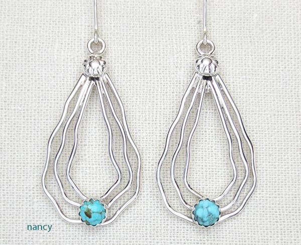 Curvy Sterling Silver Wire & Turquoise Earrings Murphy Platero - 2905sn