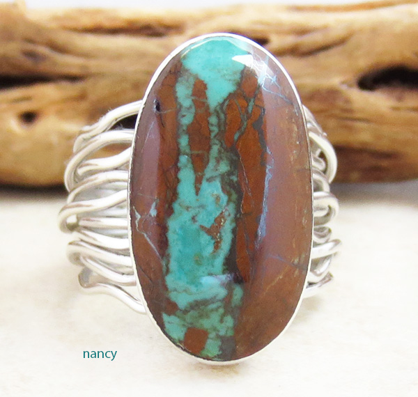 Boulder Turquoise & Sterling Silver Ring Size 9 Native American - 3105sn