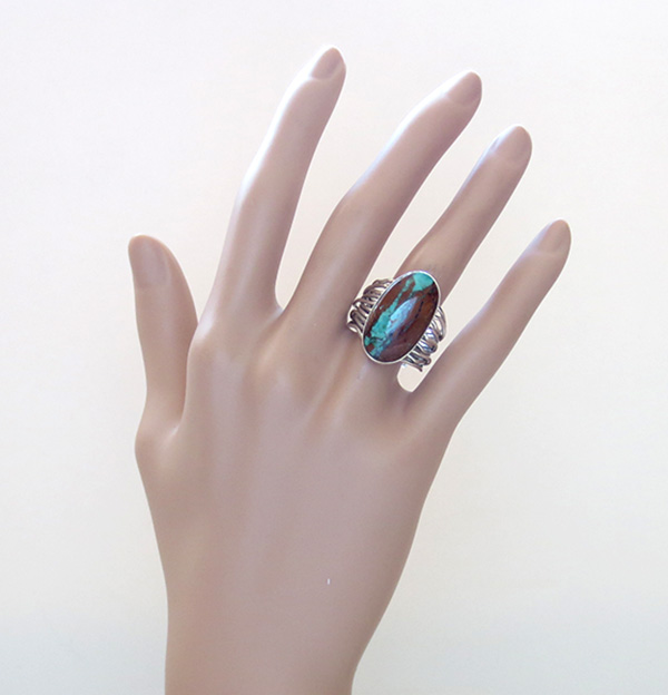 Image 6 of         Boulder Turquoise & Sterling Silver Ring Size 9 Native American - 3105sn