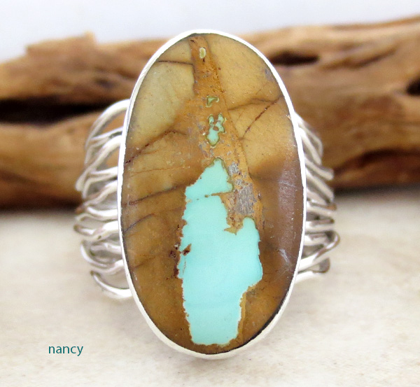 Navajo Made Boulder Turquoise & Sterling Silver Ring Size 9 - 2789sn