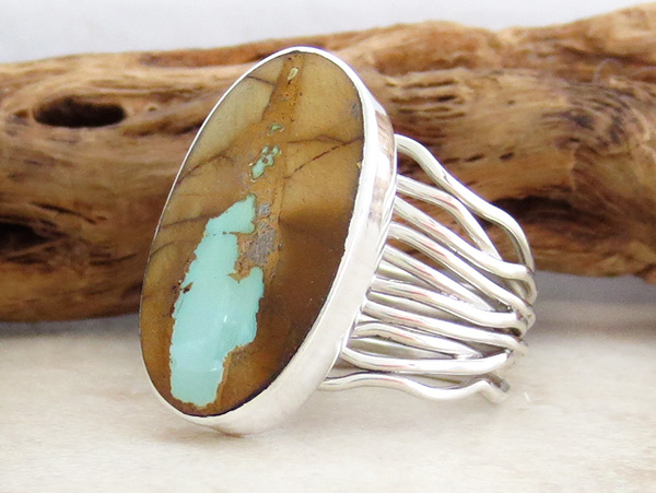 Image 3 of     Navajo Made Boulder Turquoise & Sterling Silver Ring Size 9 - 2789sn