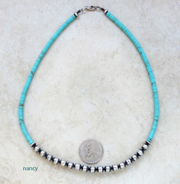 Desert Pearls & Turquoise Heishi Necklace 18 Navajo Made - 2048sw