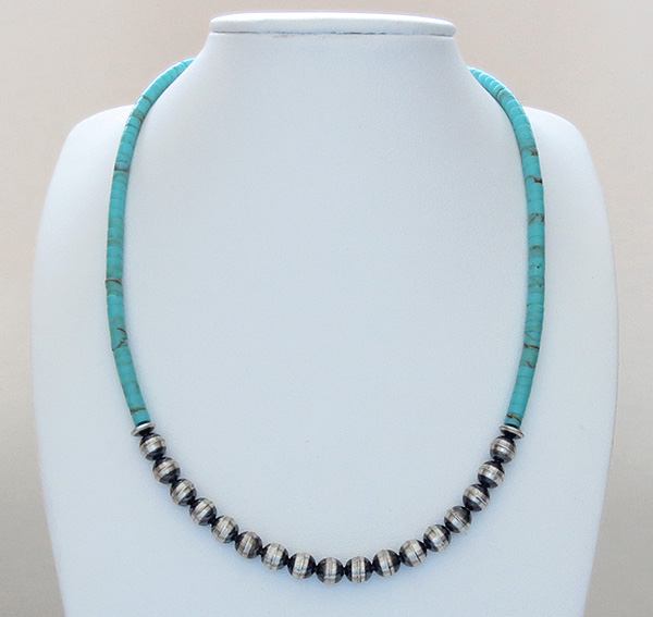 Image 1 of Desert Pearls & Turquoise Heishi Necklace 18