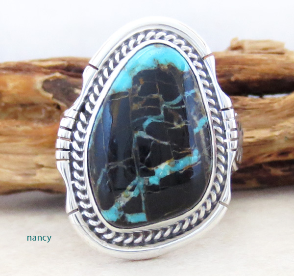 Large Sunnyside Turquoise & Sterling Silver Ring Size 9 Navajo - 2051sn