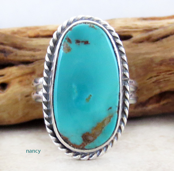 Navajo Made Turquoise & Sterling Silver Ring Size 7 - 3094sn