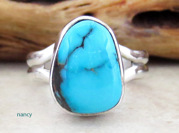 Little Turquoise & Sterling Silver Ring size 5.75 Navajo Made - 2906sn