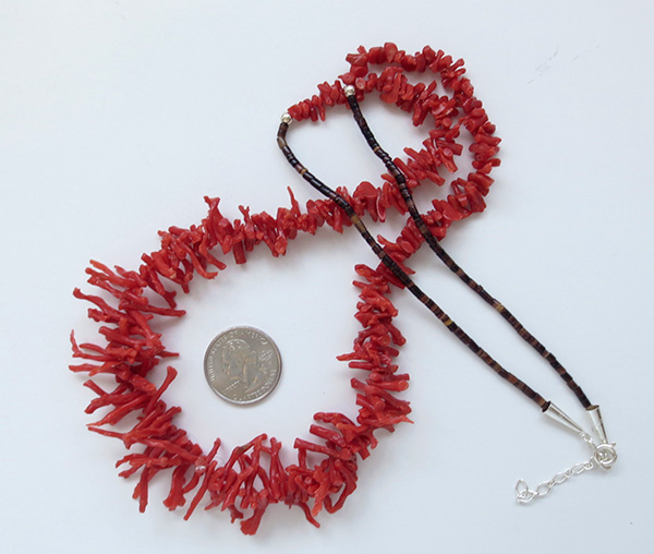 Natural Red Mediterranean Branch Coral Necklace 29 - 3123sw