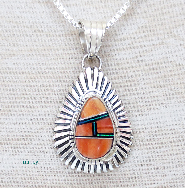 Orange Spiny Oyster Inlay & Sterling Silver Pendant Navajo C Bowie - 2916rio