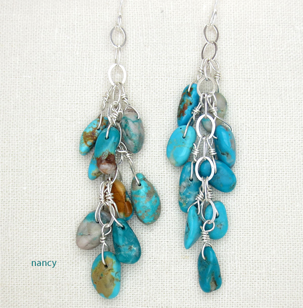 Navajo Made Free Form Turquoise & Sterling Silver Earrings - 2914sw