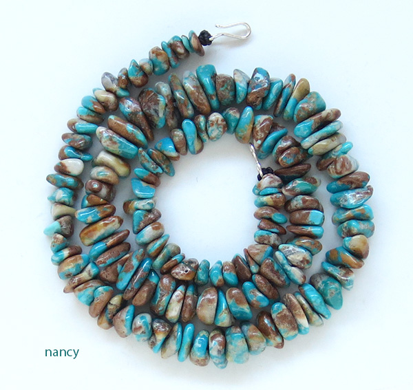 Fox Turquoise Stone Necklace 18 Made In New Mexico- 3129sw
