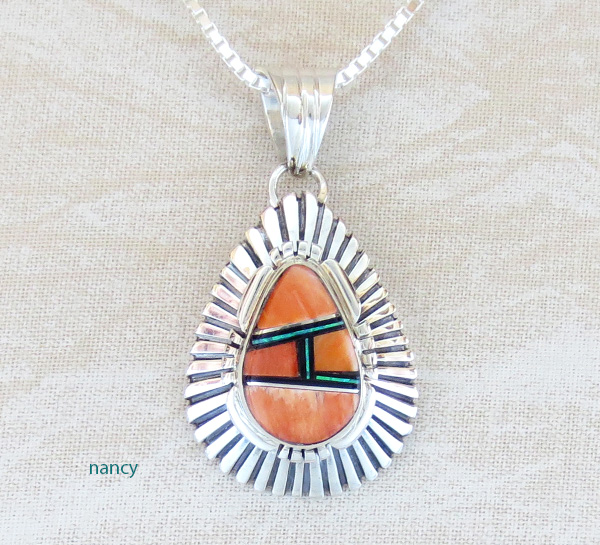 Orange Spiny Oyster Inlay & Sterling Silver Pendant Navajo C Bowie - 3097rio