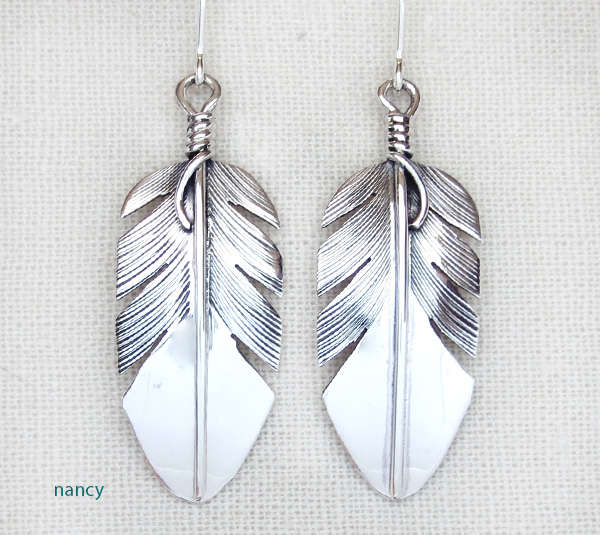 Classic Sterling Silver Feather Earrings Lena Platero Navajo - 3139sn