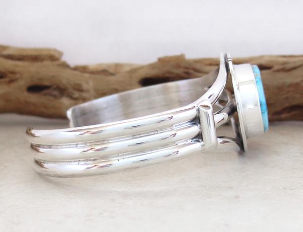 Image 2 of  Kingman Turquoise & Sterling Silver Bracelet Cuff Phillip Sanchez - 3153sn