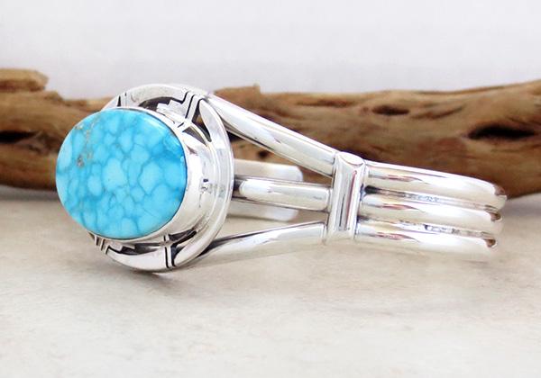 Image 3 of  Kingman Turquoise & Sterling Silver Bracelet Cuff Phillip Sanchez - 3153sn