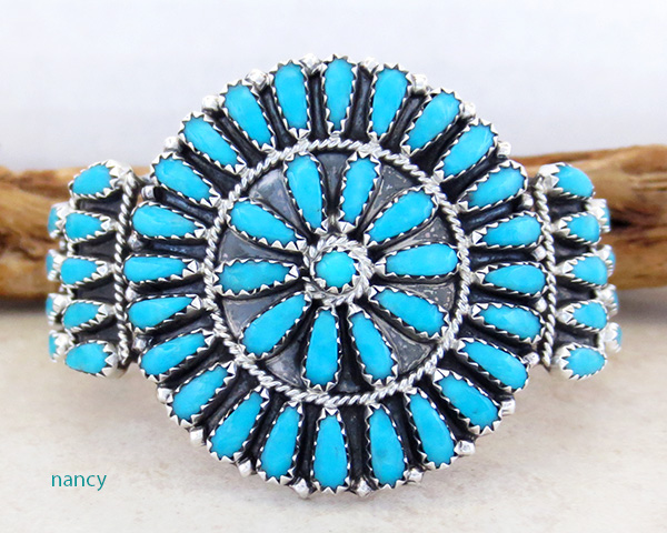 Turquoise Cluster & Sterling Silver Bracelet Native American Made - 2845nm