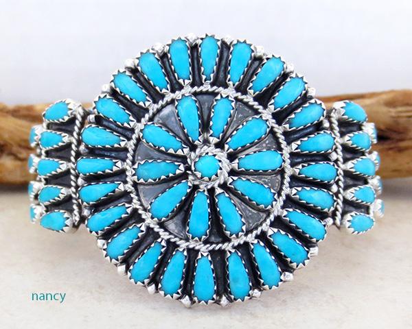 Turquoise Cluster & Sterling Silver Bracelet Cuff Navajo Zeita Begay
