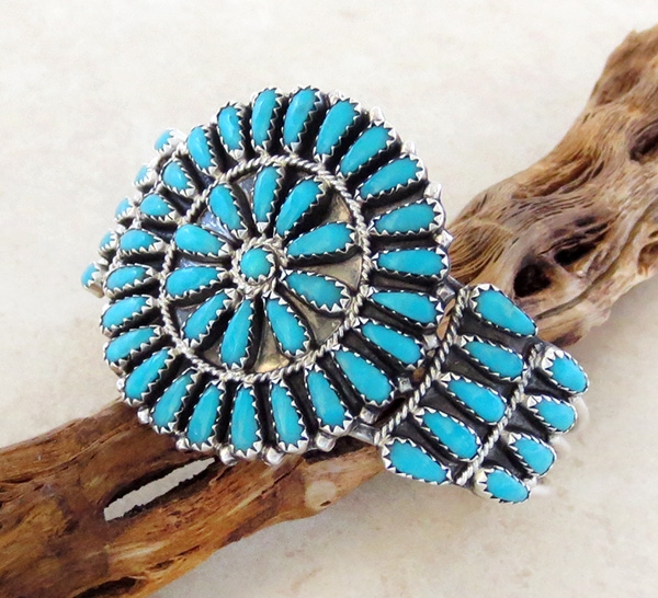 Image 1 of    Turquoise Cluster & Sterling Silver Bracelet Native American Made - 2845nm