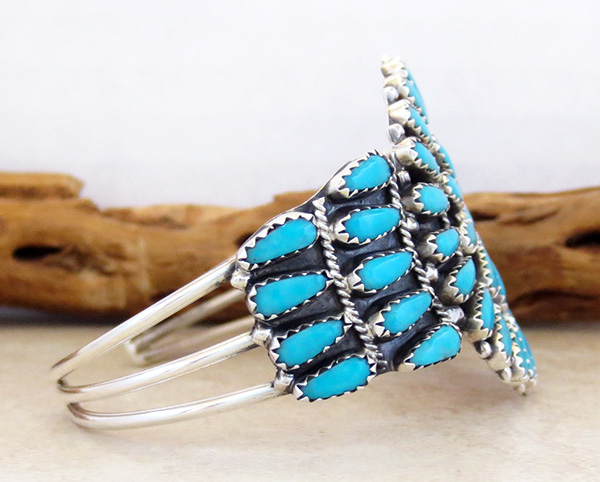 Image 2 of    Turquoise Cluster & Sterling Silver Bracelet Native American Made - 2845nm