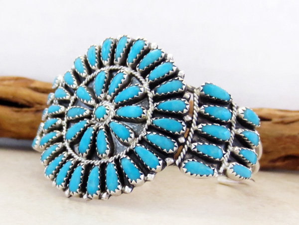 Image 3 of    Turquoise Cluster & Sterling Silver Bracelet Native American Made - 2845nm