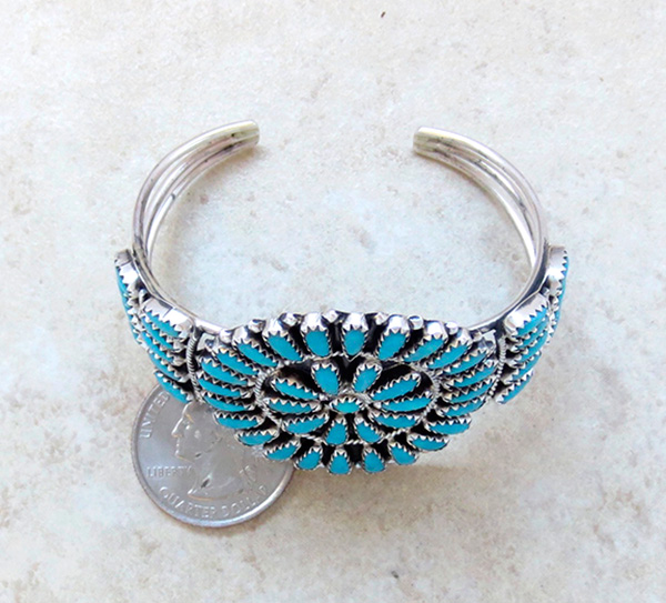 Image 4 of    Turquoise Cluster & Sterling Silver Bracelet Native American Made - 2845nm