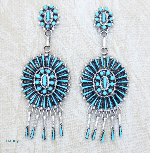 Needlepoint Turquoise & Sterling Silver Earrings Zuni Made - 3159nm