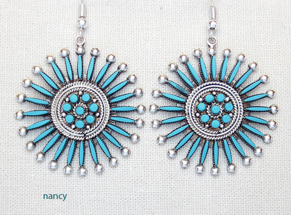 Needlepooint Turquoise & Sterling Silver Earrings Iva Booqua Zuni