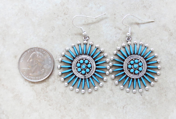 Image 1 of    Needlepooint Turquoise & Sterling Silver Earrings Iva Booqua Zuni - 2070nm