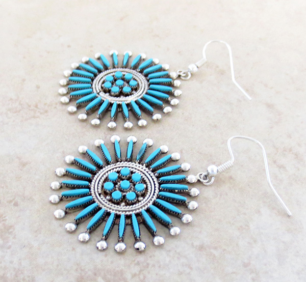 Image 2 of    Needlepooint Turquoise & Sterling Silver Earrings Iva Booqua Zuni - 2070nm