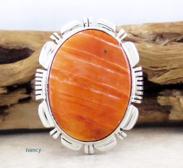 Orange Spiny Oyster & Sterling Silver Ring Size 9 Navajo Made - 3163rio