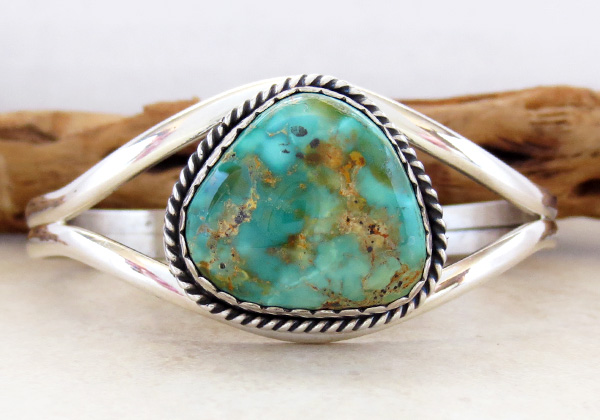 Image 1 of   Turquoise & Sterling Silver Bracelet Native American - 2795rio