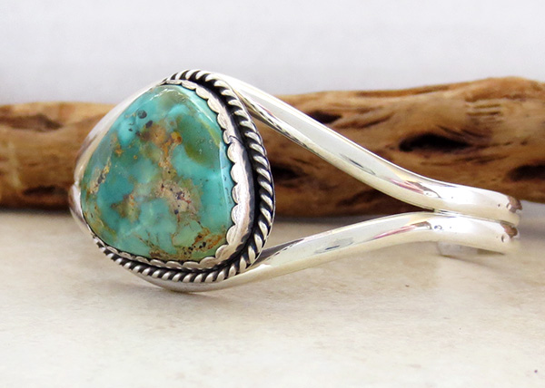 Image 3 of   Turquoise & Sterling Silver Bracelet Native American - 2795rio