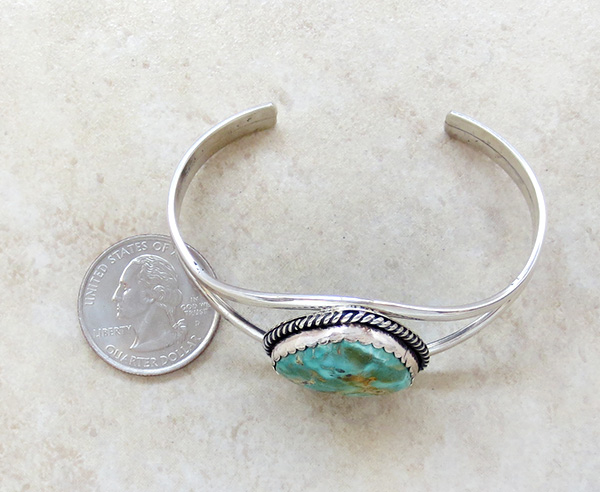 Image 4 of   Turquoise & Sterling Silver Bracelet Native American - 2795rio