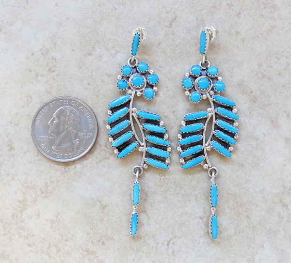 Image 1 of        Large Petit Point Turquoise & Sterling Silver Earrings Zuni Made - 2928nm