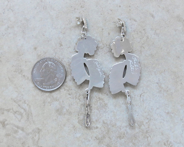 Image 3 of        Large Petit Point Turquoise & Sterling Silver Earrings Zuni Made - 2928nm
