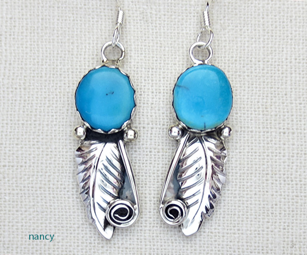 Blue Turquoise & Sterling Silver Leaf Earrings Navajo - 2796rio