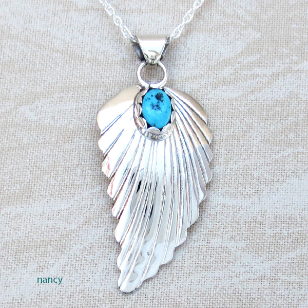 Small Turquoise & Sterling Silver Leaf Pendant Navajo Made