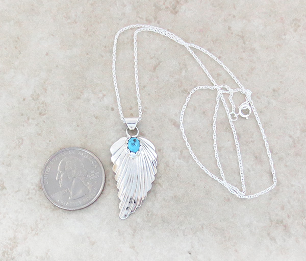 Image 1 of    Small Turquoise & Sterling Silver Leaf Pendant Navajo Jewelry - 3156sn