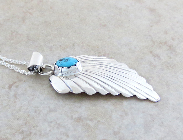 Image 2 of    Small Turquoise & Sterling Silver Leaf Pendant Navajo Jewelry - 3156sn