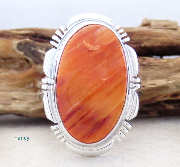 Orange Spiny Oyster & Sterling Silver Ring Size 8 Navajo Made - 3168rio