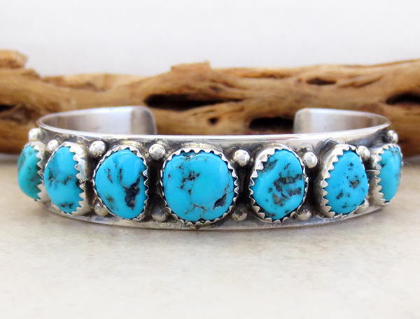 Turquoise Nugget & Sterling Silver Bracelet Navajo Made
