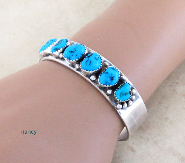 Image 1 of Turquoise Nugget & Sterling Silver Bracelet  Navajo Made - 2847nm