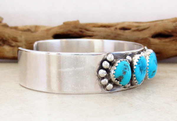 Image 2 of Turquoise Nugget & Sterling Silver Bracelet  Navajo Made - 2847nm