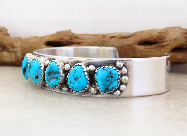 Image 3 of Turquoise Nugget & Sterling Silver Bracelet  Navajo Made - 2847nm