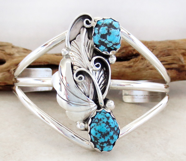 Image 1 of  Turquoise Nugget & Sterling Silver Bracelet Navajo Made - 3172rio