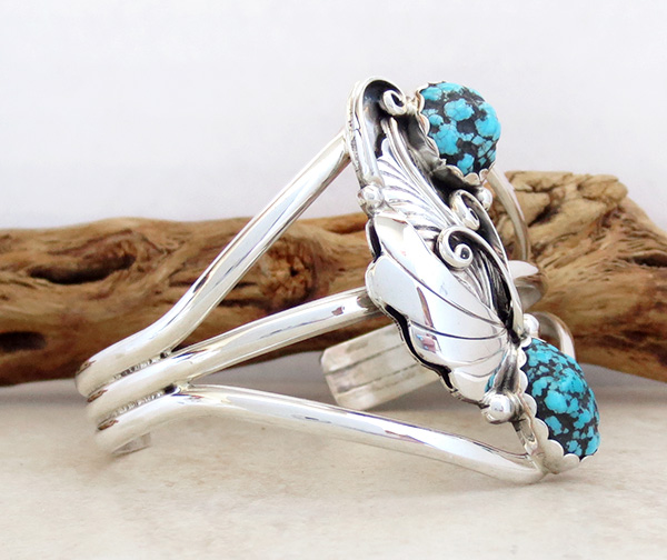Image 2 of  Turquoise Nugget & Sterling Silver Bracelet Navajo Made - 3172rio