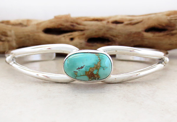 Image 1 of    Royston Turquoise & Sterling Silver Bracelet Freddy Charlie - 2075sn