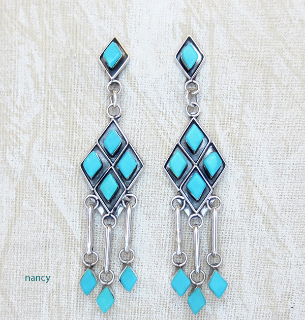 Turquoise Shadowbox & Sterling Silver Earrings Patricia Chavez Zuni - 3405nm