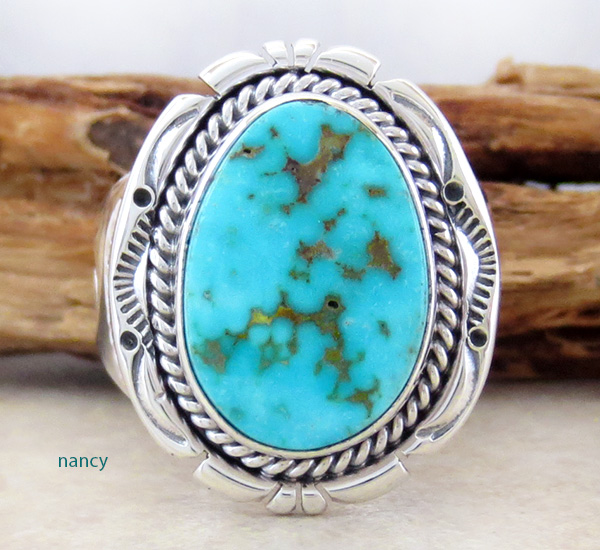 Turquoise Mountain Turquoise & Sterling Silver Ring Size 9.5 Navajo - 3178sn