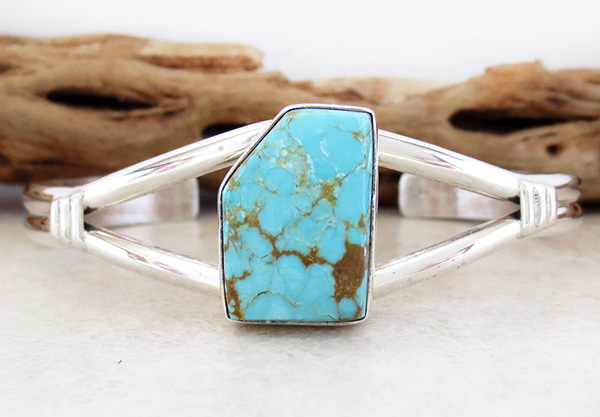 Number 8 Mine Turquoise & Sterling Silver Bracelet Joe Piaso Jr - 3204sn