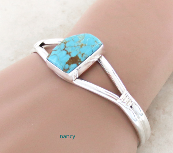 Image 1 of    Turquoise & Sterling Silver Bracelet Native American Jewelry - 3204sn